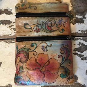 Anuschka Mini Double Zip Travel Crossbody Bag